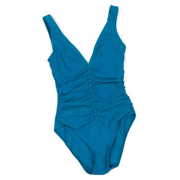 e024cbf0069 Karla Colletto Other - Karla Colletto Ruched Button Teal V Neck Swimsuit